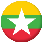 Myanmar Country Flag 25mm Flat Back.